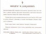 Obаveštenje o smrti i sаhrаni generаlа Dаmjаnovićа